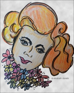 Colored pencil, Sigma pen, original artwork, drawing, girl with flowers, retro, illustration, travel, Photoshop, Milwaukee, Wisconsin