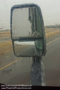 ice, freezing rain, ice-coated RV, RVing in the winter, treacherous driving conditions, heated mirrors, ice on mirrors
