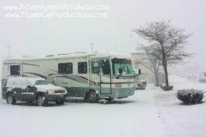 snow, winter, Milwaukee, Wisconsin, motorhome, RV, RV park,