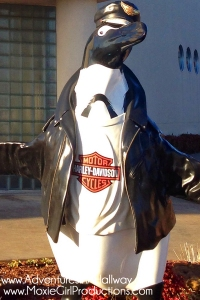 travel, photography, iPhoneography, Harley-Davidson, penguin, statue, motorcycle, motorcycle gear, art, public art, biker