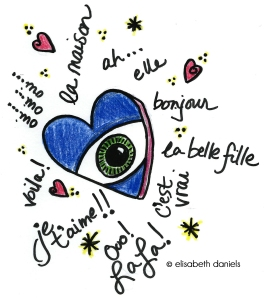 drawing, art on the road, Sigma pen, colored pencil, original artwork, French, heart with eye, Photoshop, travel